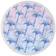 Pink Blue Palm Tree Grove Round Beach Towel