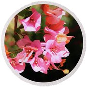 Pink Bougainvillia- Photograph By Linda Woods Round Beach Towel