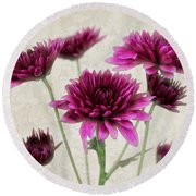 Pink Bouquet Round Beach Towel by Judy Vincent
