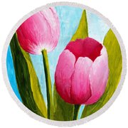 Pink Bubblegum Tulip II Round Beach Towel by Phyllis Howard