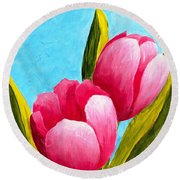 Pink Bubblegum Tulips I Round Beach Towel by Phyllis Howard