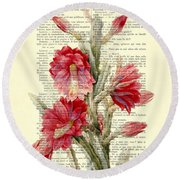 Pink Cactus Flower Vintage Book Page Collage Round Beach Towel