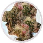 Pink Cactus Round Beach Towel