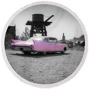 Pink Caddy In The Desert Round Beach Towel