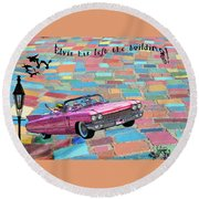 Pink Cadillac Round Beach Towel
