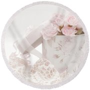 Pink Carnations In Rose Box Round Beach Towel by Sandra Foster