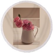 Pink Carnations Round Beach Towel by Sherry Hallemeier