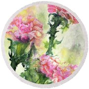 Pink Carnations Round Beach Towel