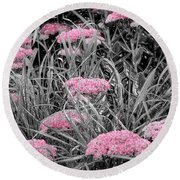 Pink Carved Cowslip Round Beach Towel