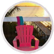 Pink Chair In The Keys Round Beach Towel
