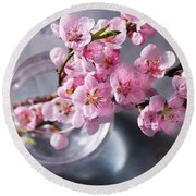 Pink Cherry Blossom Round Beach Towel