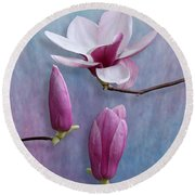 Pink Chinese Magnolia Flower With Two Buds Round Beach Towel