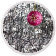 Round Beach Towel featuring the photograph Pink Christmas Bauble by Ulrich Schade
