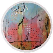 Pink City Round Beach Towel
