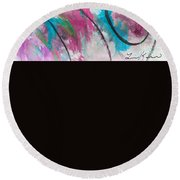 Round Beach Towel featuring the painting Pink City Singing by Lisa Kaiser