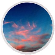 Pink Clouds Abstract Round Beach Towel