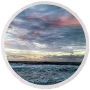 Pink Clouds At Dawn Round Beach Towel