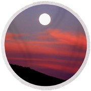 Pink Clouds With Moon Round Beach Towel by Joseph Frank Baraba