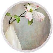 Pink Cornus Kousa Blossom In Creamer Round Beach Towel