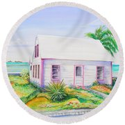Round Beach Towel featuring the painting Pink Cottage by Patricia Piffath