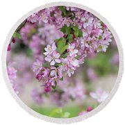 Pink Apple Blossom Round Beach Towel