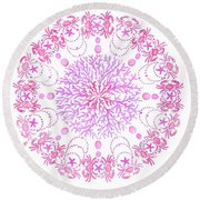 Pink Crab Mandala Round Beach Towel by Stephanie Troxell