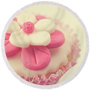 Round Beach Towel featuring the photograph Pink Cupcake by Lyn Randle