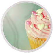 Round Beach Towel featuring the photograph Pink Cupcake With Lovehearts by Lyn Randle