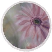 Round Beach Towel featuring the painting Pink Daisies by Donna Tuten