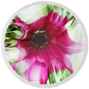 Pink Daisy Round Beach Towel by Elaine Hunter