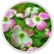 Pink Dogwoods 003 Round Beach Towel by George Bostian
