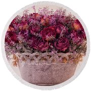 Pink Dried Roses Floral Arrangement Round Beach Towel