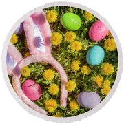 Round Beach Towel featuring the photograph Pink Easter Bunny Ears by Teri Virbickis