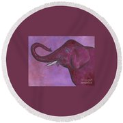 Pink Elephant Round Beach Towel