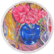 Pink Fantasy Round Beach Towel by Lisa Boyd
