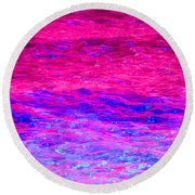 Pink Fantasy Waters Abstract Round Beach Towel