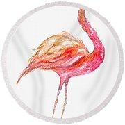 Pink Flamingo Bird Round Beach Towel