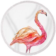 Pink Flamingo Bird Round Beach Towel
