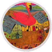 Pink Flamingo Camp Round Beach Towel