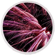 Round Beach Towel featuring the photograph Pink Flamingo Fireworks #0710 by Barbara Tristan