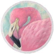 Pink Flamingo V Round Beach Towel