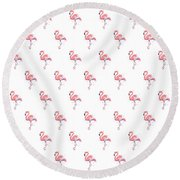 Pink Flamingo Watercolor Pattern Round Beach Towel