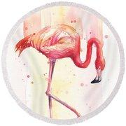 Pink Flamingo Watercolor Rain Round Beach Towel