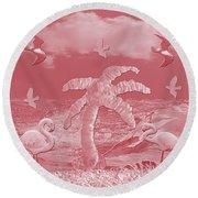 Pink Flamingo's Palms Round Beach Towel