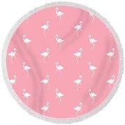 Pink Flamingos Pattern Round Beach Towel