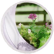 Round Beach Towel featuring the photograph Pink Floral 2 by Andrea Anderegg