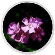 Pink Floral Artistry Round Beach Towel