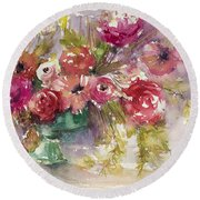Pink Floral Impressions Round Beach Towel by Judith Levins
