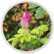Pink Flower Bud Round Beach Towel