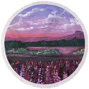 Round Beach Towel featuring the painting Pink Flower Field by Anastasiya Malakhova